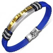 Pulsera De Acero Y Caucho Azul Diseño Moderno Sport