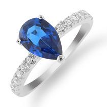 Anillo De Plata Esterlina Con Circonita Azul Zafiro