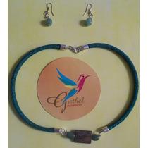 Joyería Juego Collar Y Aretes Azules De Aventurina
