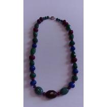 Collar De Rubies Zafiros Y Esmeraldas Con Broche De Plata