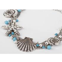 Collar Con Aretes Estilo Marino Plateado Gossip Collection