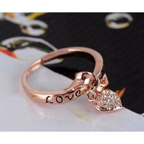 Anillo Love You Chapa De Oro 18k Zirconia Compromiso Regalo