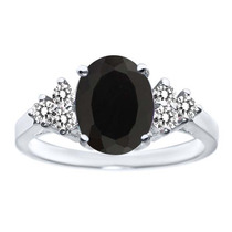 1.83 Ct Oval Negro Onyx White Diamond 14k Anillo Oro Blanco