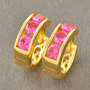Aretes Oro Gold Filled 10k Con Rubies Redondos De 4mm 2.5g