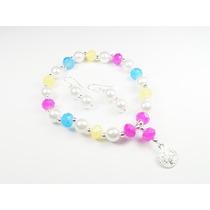 Pulsera De Cristales Multicolor Y Perlas Con Dije De San Ben