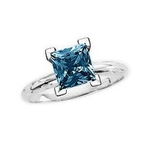 Anillo Con Diamante Princess Azul De 1.00 Cts. En Oro De 14k