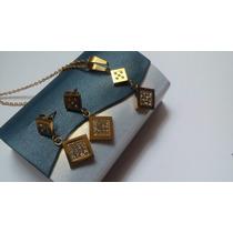 Genial Collar + Aretes Swarovski Elements Baño Oro Estuche!!