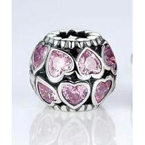 Charm 925 P Pulsera Pandora Et Al Pink Crystal Hearts Love