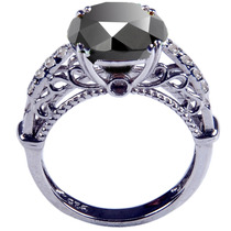 Anillo De Compromiso Diamante Negro Y Blanco 4.35 Ct