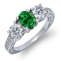 Anillo De Plata Verde Esmeralda Creado Sterling