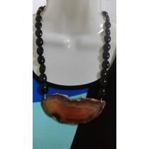 Collar De Onix Negro Con Rebanada De Geoda Facetada De 60 Cm