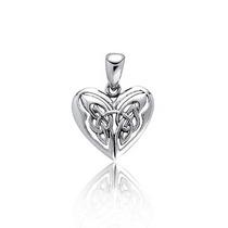 Pendiente Bling Jewelry Corazón Mariposa Celta Plata Esterl
