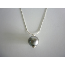 Cadena De Plata 925 Con Perla Negra Autentica De Thaiti