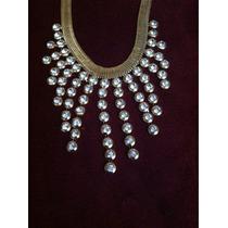 Hermoso~elegante Collar De Moda Dorado Y Piedras Blancas
