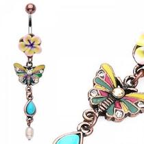 Piercing En El Ombligo Cobre Diseño Mariposa Artesanal
