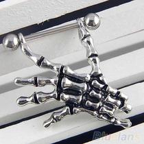 2pzs Piercing Para Pezón.par En Forma De Mano De Esqueleto.