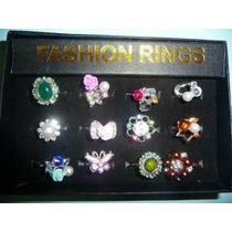 12 Anillos De Moda Fantasia Fina Con Cristales Y Perlas Sint