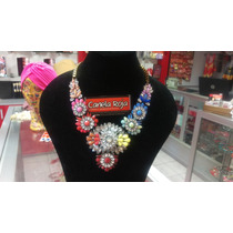 Hermoso Collar Grande Colores Aircoiris Piedras Brillantes
