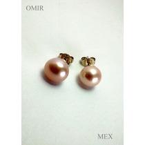 Aretes Oro 14k Solido Con Perlas Naturales 9mm Fino Calidad