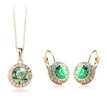 Collar Y Aretes Zirconias Y Cristales Chapado En Oro 18k
