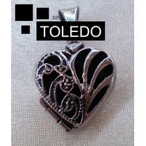 Dije De Corazón Decorado Relicarios Toledo.925 Regalo Ideal!