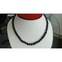 Collar De Perlas Naturales Negras Con Envio Gratis!