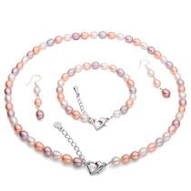 Perlas Naturales Set + Pulsera De Plata!