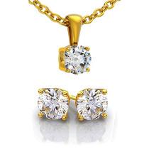 Aretes Y Dije Hermoso Set En Oro 10k Macizo Y Diamantes Ruso