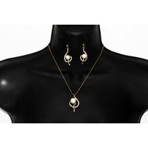 Conjunto Elegante Dorado Dije Perla ,cristales Y Aretesce160