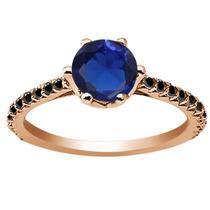 Azul Creado Anillo Plateado Plata Del Zafiro De Oro Rosa