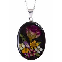 Collar Y Dije De Plata Flores Naturales Miniatura