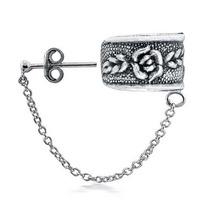 Arete Izquierdo Bling Jewelry Flor Rosa Cadena 1 Pieza Plata