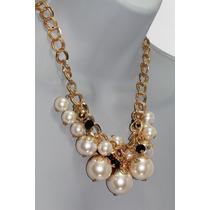 Collar Moda Perlas Y Cuentas Negras Eslabón Dorado