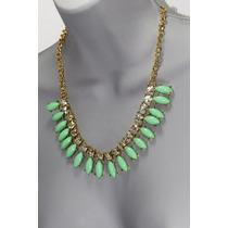 Collar Moda Verde Menta, Cristales Y Aretes