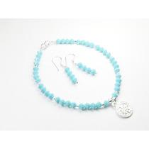 Pulsera-aretes De Cristales Azul Cielo C/ Dije De San Benit