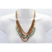 Collar Moda Eslabones Dorados Y Cuentas Verdes Menta
