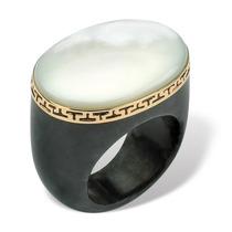 Madre-de-perla Negro Jade Griego Clave 14k Oro-tamaño 7