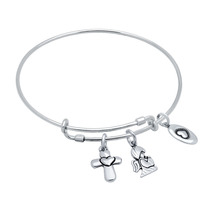 Bangle With Cross, Love , And Angel Charms