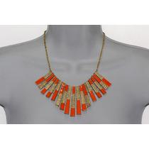 Collar Moda Metal Detalles Naranja Y Dorado