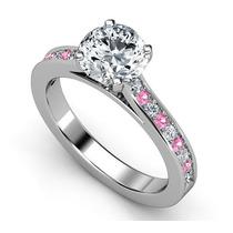 Anillo De Compromiso Con Diamante De Grafito Redondo 1,5 Ct