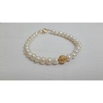 Bisuteria. Pulcera De Perlas Cultivadas Con Chapa De Oro