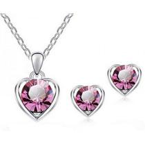 Dije Collar Y Aretes Amor Varios Cristal Swarovski Elements