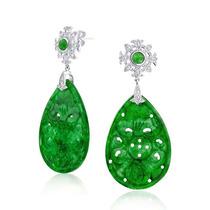 Bling Jewelry Libra Esterlina Verde Tallado Jade Cz Drop