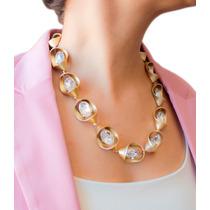 Juego De Collar Dorado Con Cristales Con Aretes Gossip Co.