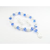 Pulsera De Cristales Azules Y Perlas Con Dije De San Benito