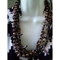 Collar De 4 Hilos De Perlas Cultivadas Barrocas, Opalo,