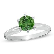 Anillo Con Diamante Verde 1,00 Cts En Oro De 14k.