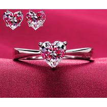 Anillo De Compromiso Y Aretes, Diamantes Corazón, Plata, Oro
