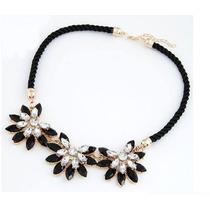 Collar Accesorio Mujer De Flores Tipo Sol Hecho Con Piedras
