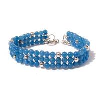 Agata Azul Brazalete Hindue Tejido Diseño De Hermo Espinosa